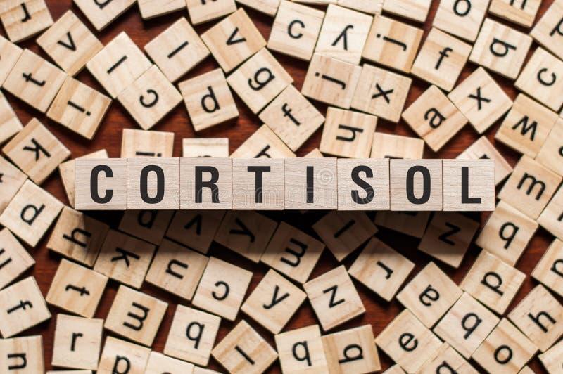 Concept de mot de cortisol images libres de droits