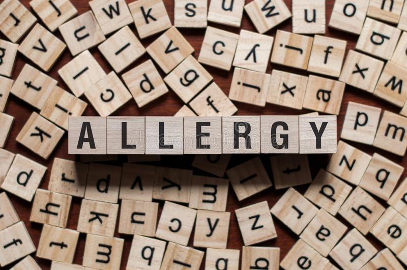Concept de mot d'allergie photo stock