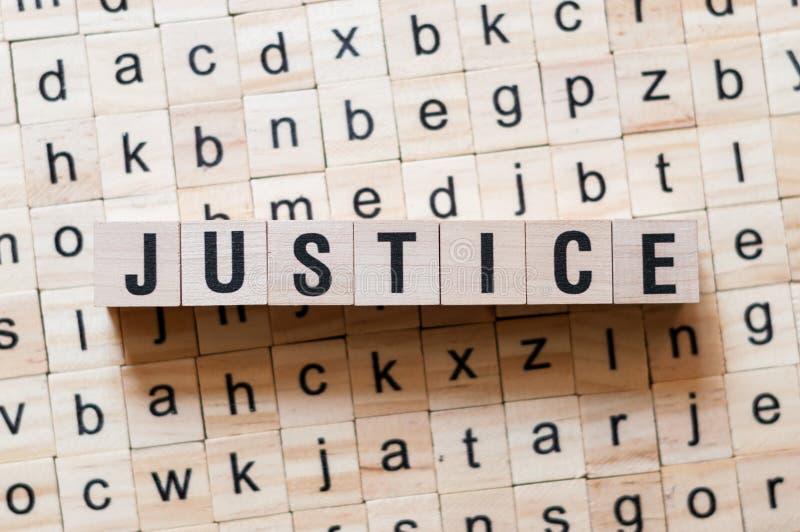 Concept de mot de justice photo stock