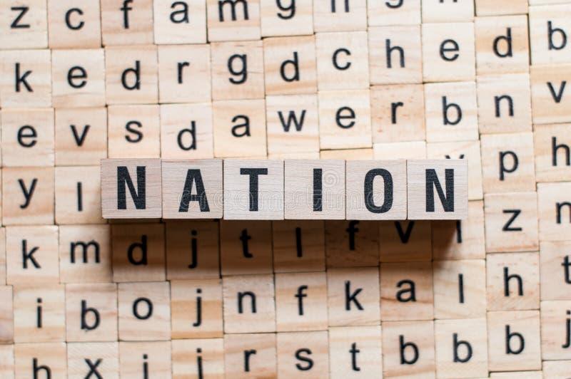 Concept de mot de nation images libres de droits