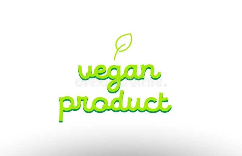 concept de mot de produit de vegan avec le DES vert de société d'icône de logo de feuille illustration libre de droits