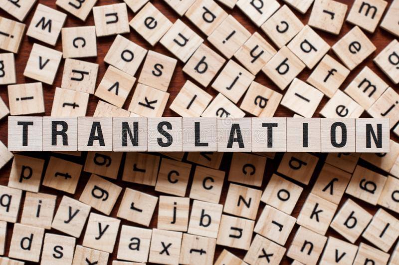 Concept de mot de traduction image libre de droits