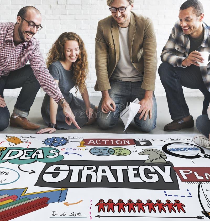 Concept de motivation de mission de développement de solution de stratégie photographie stock
