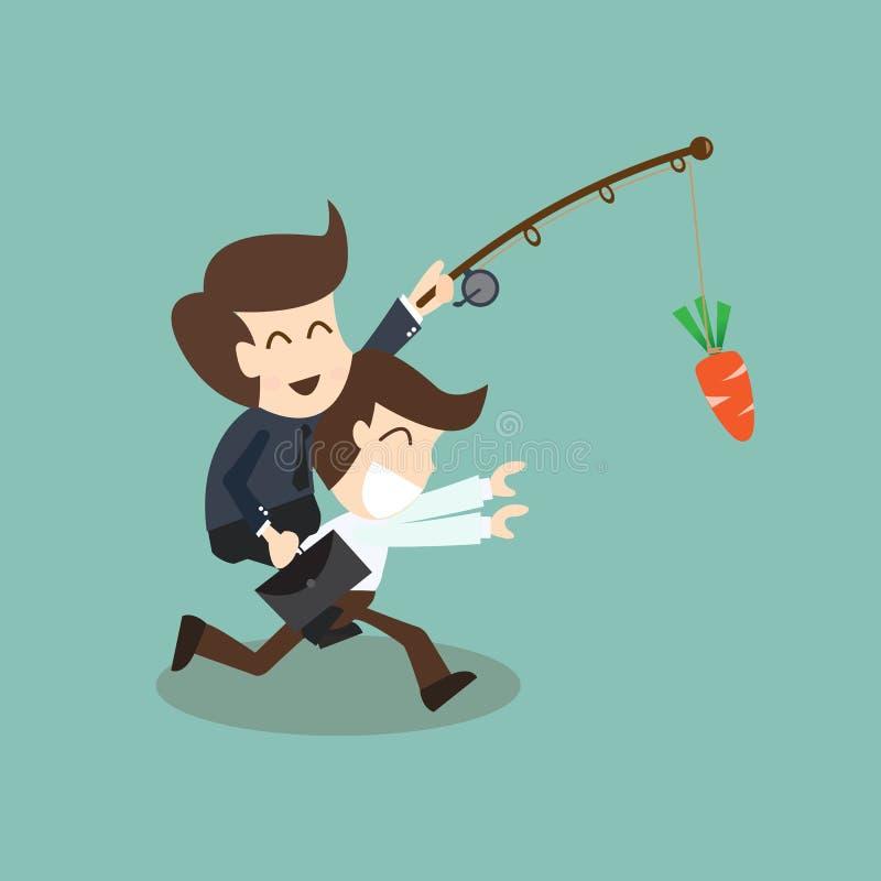 Concept de motivation - homme d'affaires chassé avec la carotte illustration libre de droits