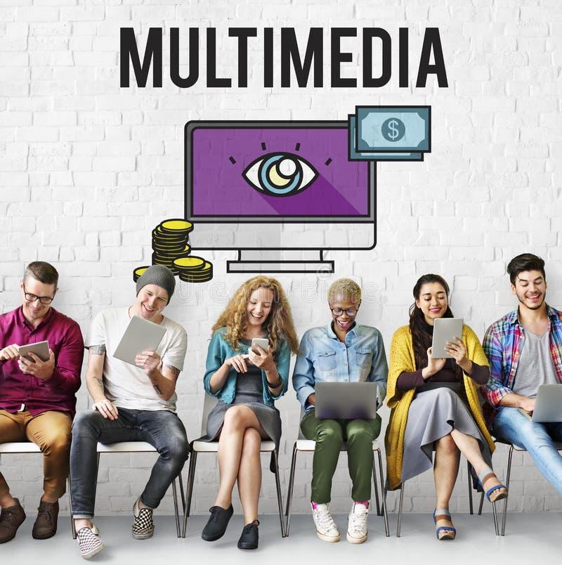 Concept de multimédia de commerce électronique de vente de Digital de publicité photos libres de droits