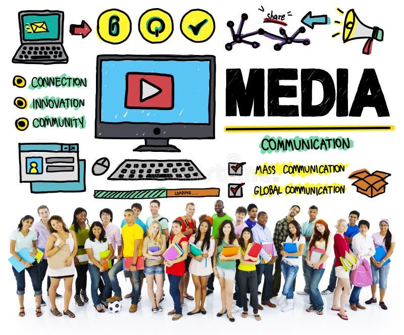 Concept de multimédia de communication de désordre de dispositifs de media photo stock