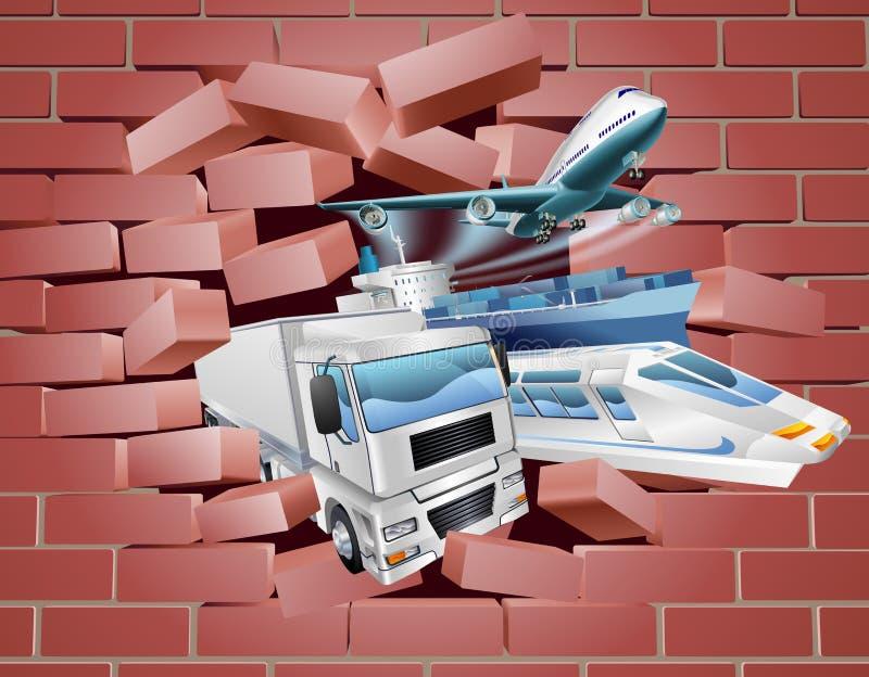 Concept de mur de cargaison de logistique de transport illustration libre de droits