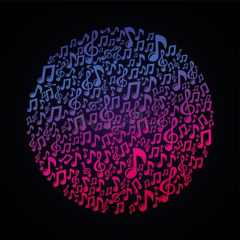 Concept de musique de vecteur - notes musicales illustration stock