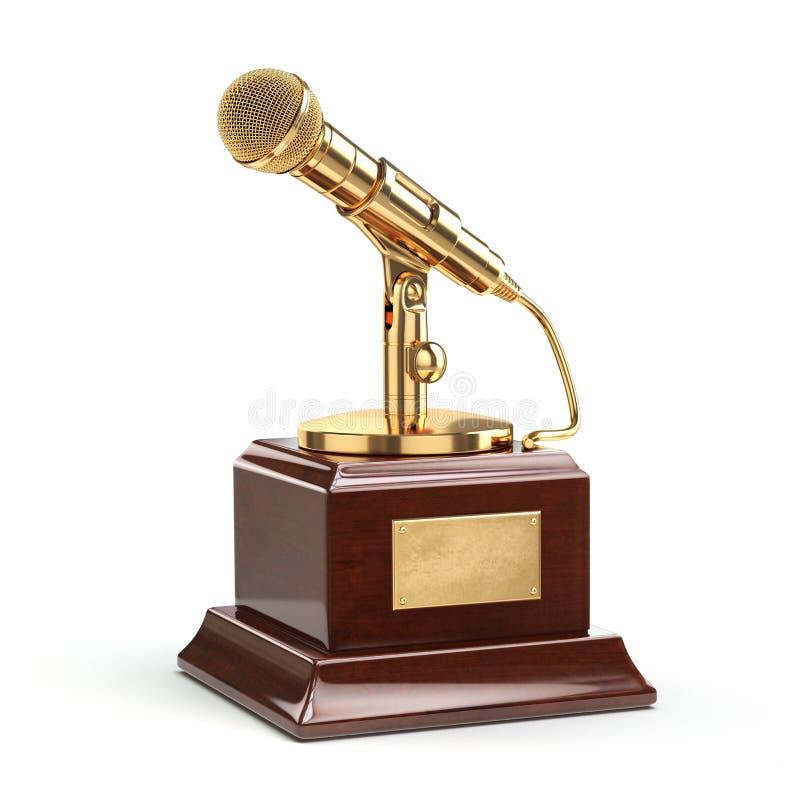 Concept de musique ou de récompense de journalisme Microphone d'or d'isolement illustration stock