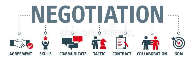 Concept de négociation de bannière avec des icônes illustration libre de droits