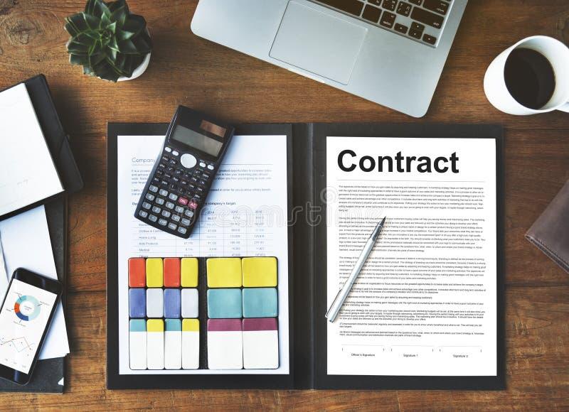 Concept de négociation d'obligation d'engagement d'accord contractuel photos stock