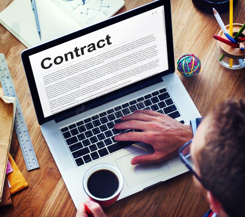 Concept de négociation d'obligation d'engagement d'accord contractuel photographie stock