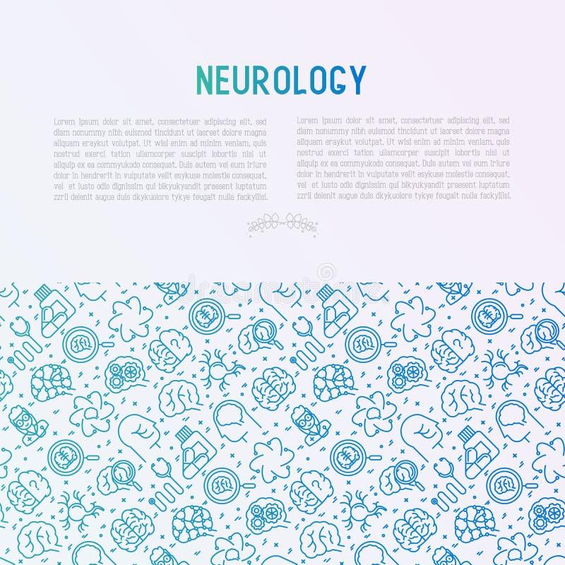 Concept de neurologie avec la ligne mince icônes illustration stock