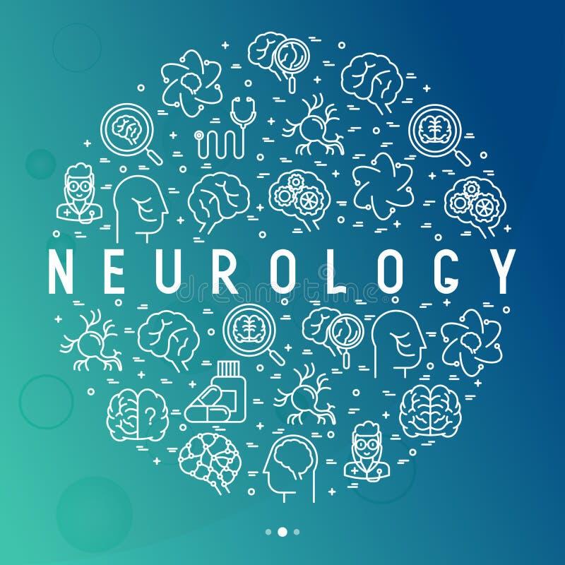 Concept de neurologie en cercle avec la ligne mince icônes illustration libre de droits