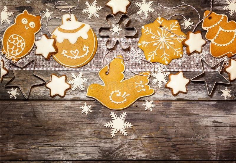 Concept de Noël avec des biscuits dans le style rustique images stock