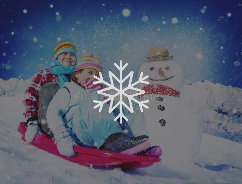 Concept de Noël de tempête de neige de flocon de neige d'hiver de neige photographie stock libre de droits