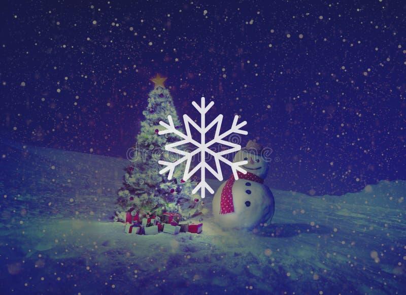 Concept de Noël de tempête de neige de flocon de neige d'hiver de neige photos libres de droits