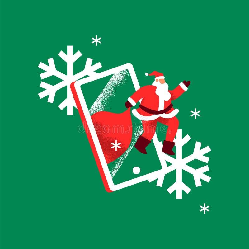 Concept de Noël du père noël dans le téléphone portable illustration libre de droits