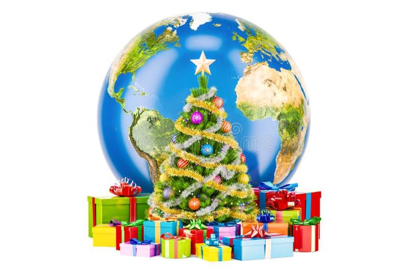 Concept de Noël global et de nouvelle année Globe de la terre avec Christma illustration stock