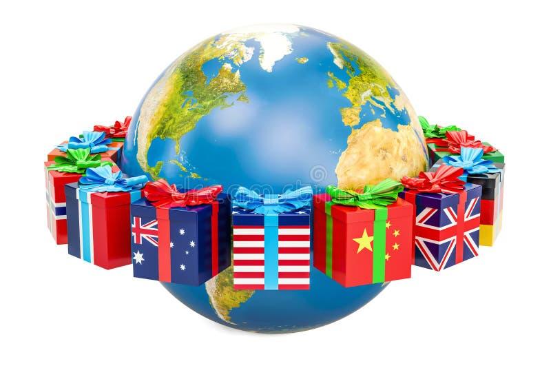 Concept de Noël global et de nouvelle année, globe de la terre avec le boîte-cadeau illustration de vecteur