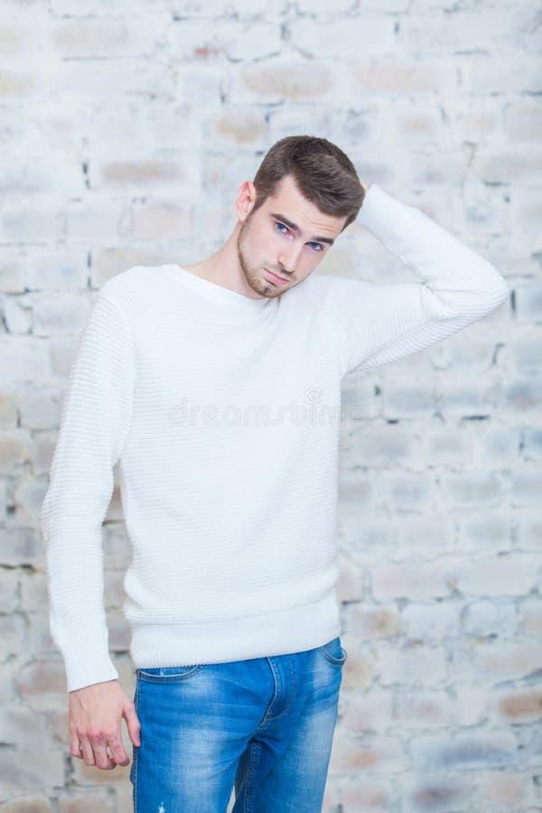 Concept de Noël, mode masculine Jeune homme beau dans le pull élégant posant en appartements luxueux décorés pour images stock
