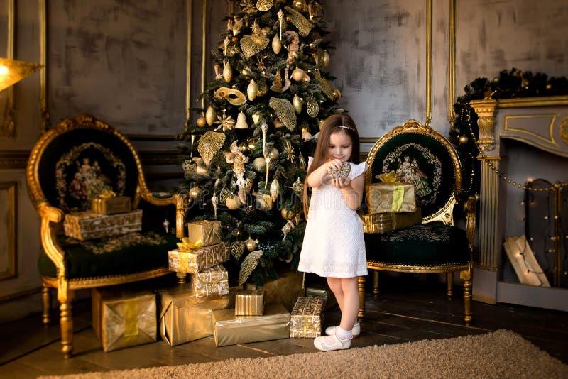 Concept de Noël An neuf Les enfants habillent un arbre de Noël photo libre de droits