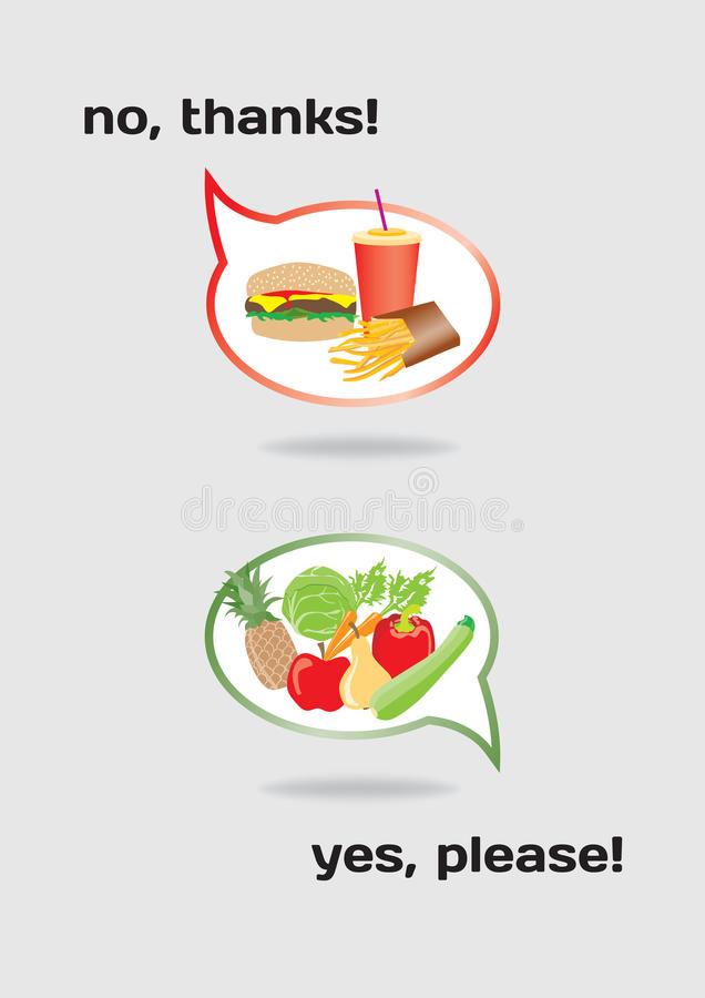 Concept de nourriture sain et malsain illustration stock