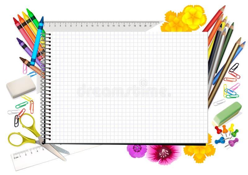 Concept de nouveau à l'école avec le bloc-notes illustration libre de droits