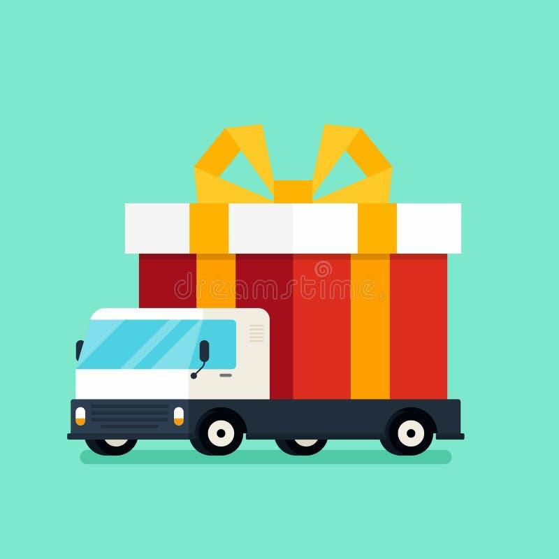 Concept 2019 de nouvelle année avec le boîte-cadeau sur le style plat de conception de camion illustration de vecteur