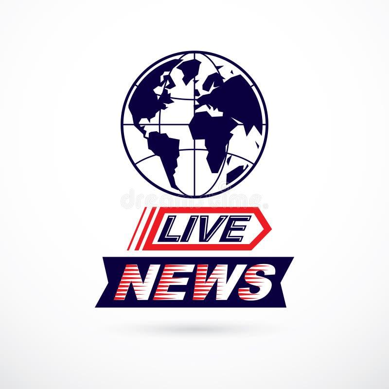 Concept de nouvelles du monde, illustration de globe de vecteur Thème de journalisme, illustration libre de droits