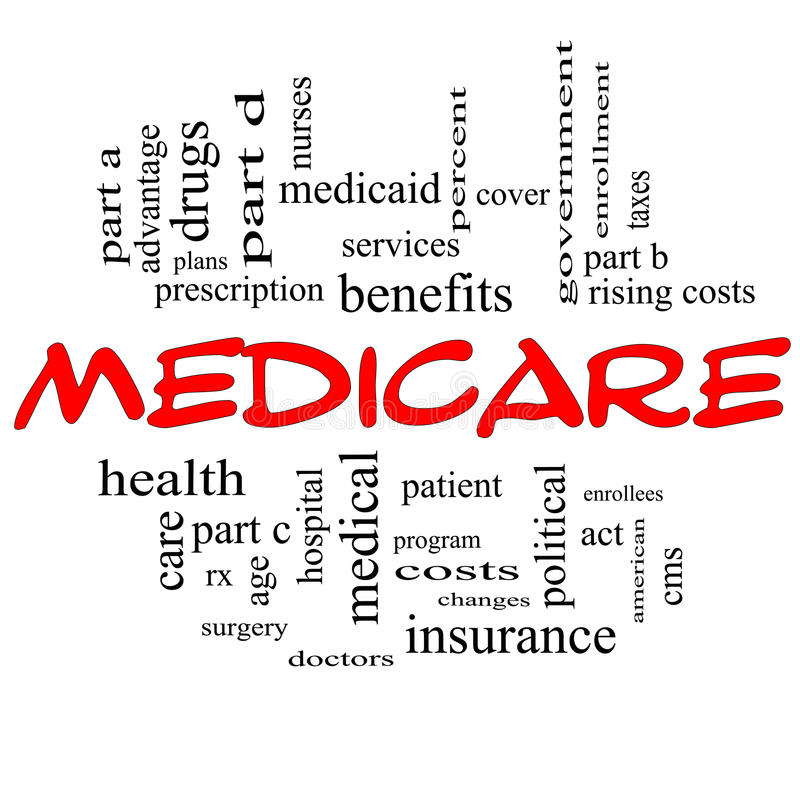 Concept de nuage d'Assurance-maladie Word dans des chapeaux rouges illustration stock