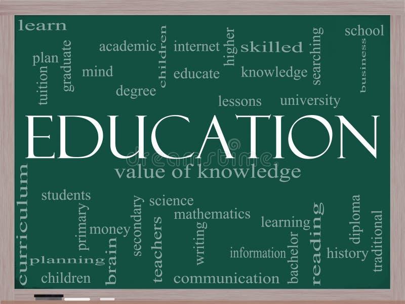 Concept de nuage de mot d'éducation sur un tableau noir illustration stock