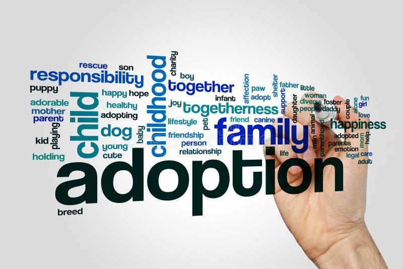 Concept de nuage de mot d'adoption sur le fond gris photographie stock libre de droits