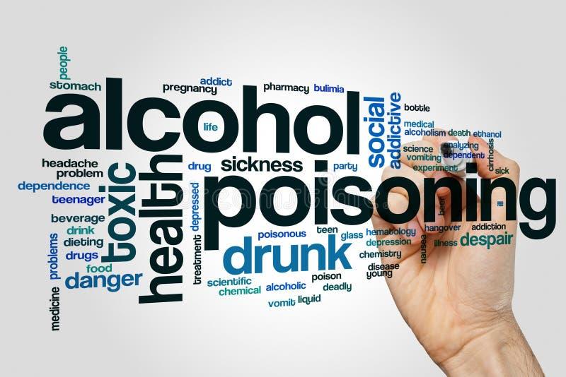 Concept de nuage de mot d'empoisonnement d'alcool sur le fond gris image stock