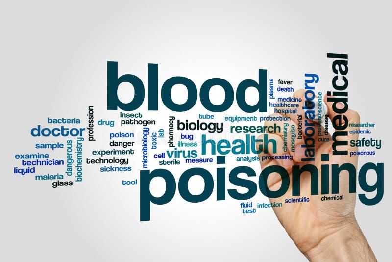 Concept de nuage de mot d'empoisonnement du sang sur le fond gris image libre de droits