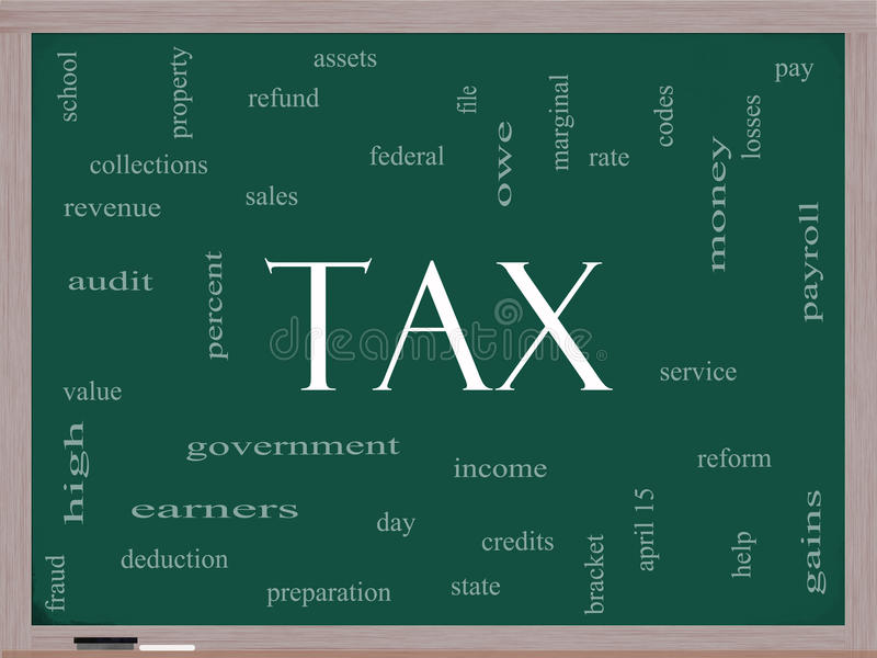 Concept de nuage de mot d'impôts sur un tableau noir illustration stock
