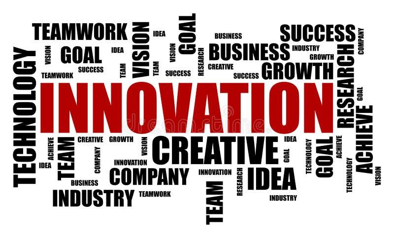 Concept de nuage de mot d'innovation sur le fond blanc illustration stock