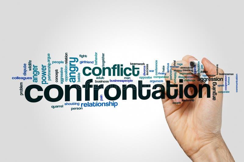 Concept de nuage de mot de confrontation sur le fond gris illustration libre de droits
