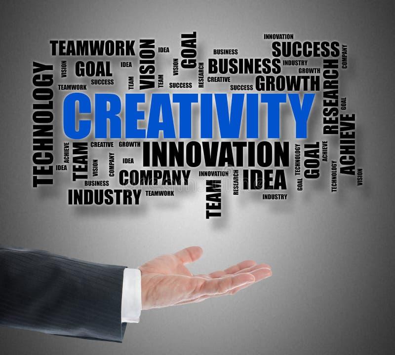 Concept de nuage de mot de créativité faisant de la lévitation au-dessus d'une main illustration de vecteur
