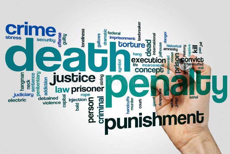 Concept de nuage de mot de peine de mort sur le fond gris photographie stock libre de droits