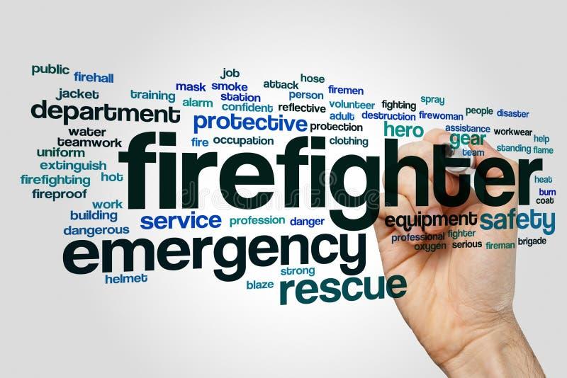 Concept de nuage de mot de sapeur-pompier sur le fond gris image stock