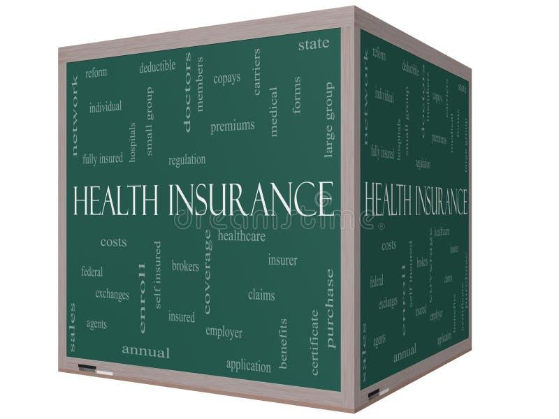 Concept de nuage de Word d'assurance médicale maladie sur un tableau noir du cube 3D illustration de vecteur
