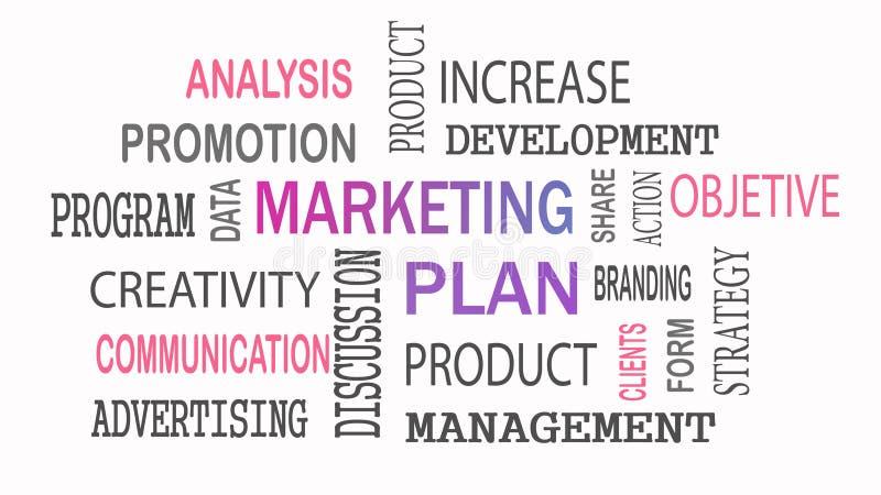 Concept de nuage de mot de plan marketing sur le fond blanc illustration stock