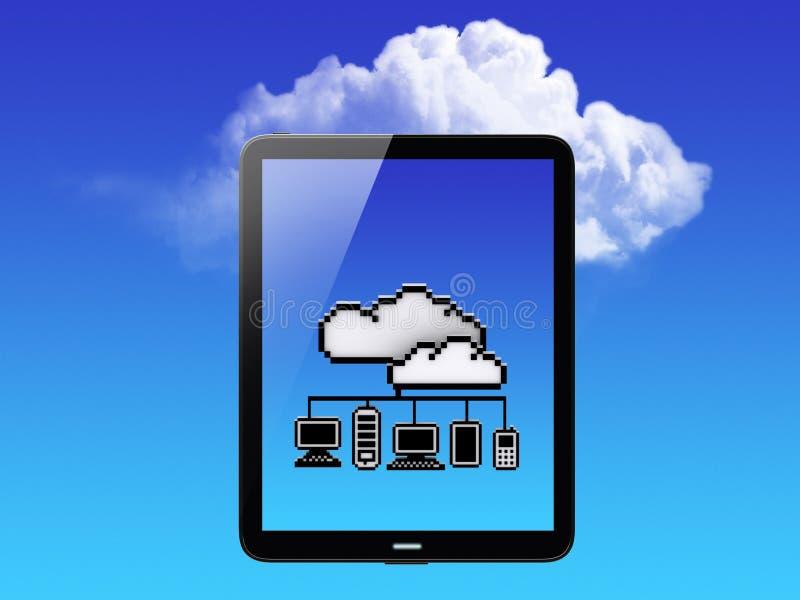 Concept de nuage. PC de tablette illustration stock