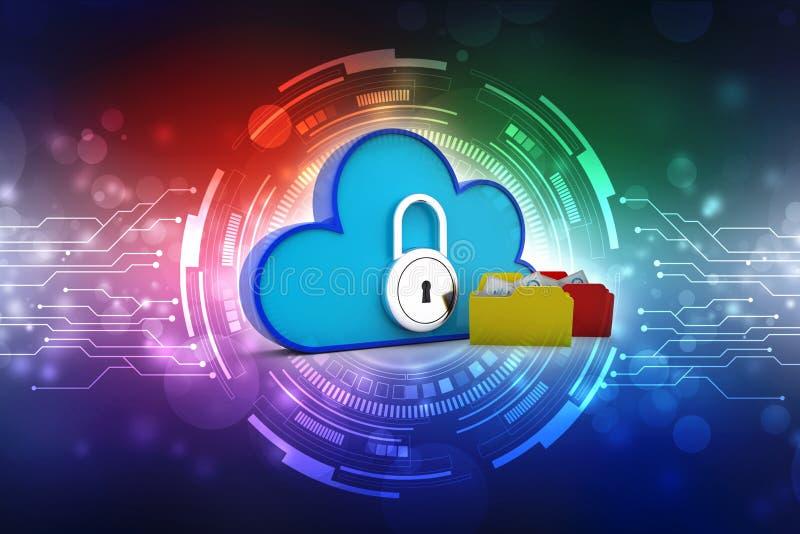 Concept de nuage, réseau de nuage et connexion internet de calcul illustration de vecteur