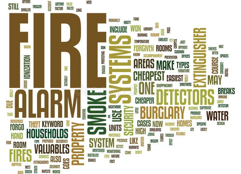 Concept de nuage de systèmes d'alarme d'incendie Word illustration de vecteur