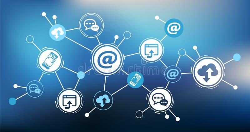 Concept de numérisation et de communication mobile - illustration illustration libre de droits