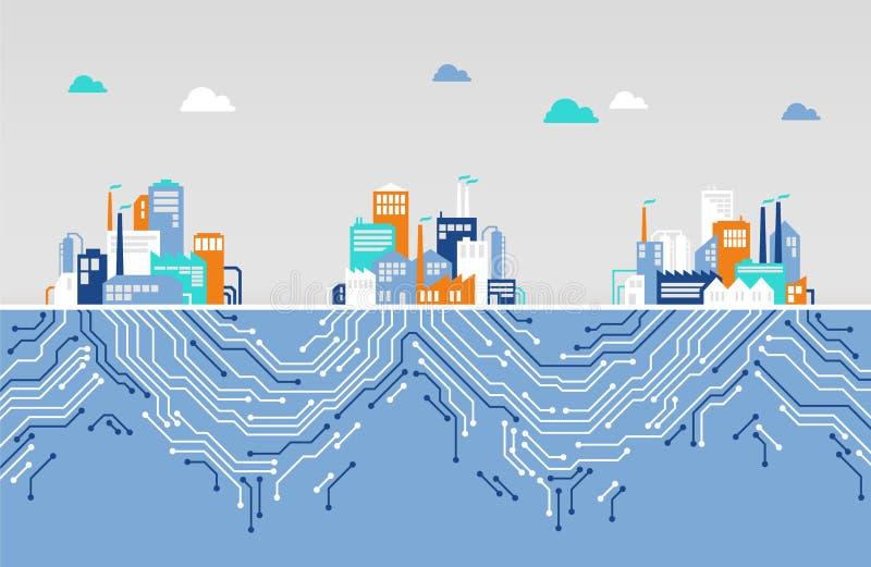 Concept de numérisation/réseau d'iot/société - illustration plate illustration libre de droits