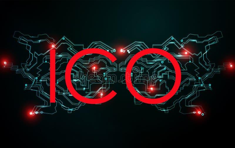 Concept de offre de pièce de monnaie d'initiale d'ICO Réseau de chaîne de bloc Commerce de bitcoin de Cryptocurrency ICO Filet fi illustration libre de droits