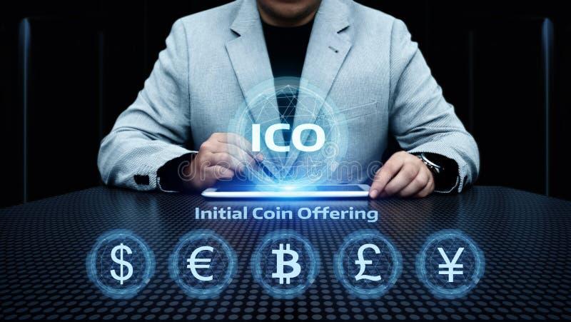 Concept de offre de technologie d'Internet d'affaires de pièce de monnaie d'initiale d'ICO images libres de droits